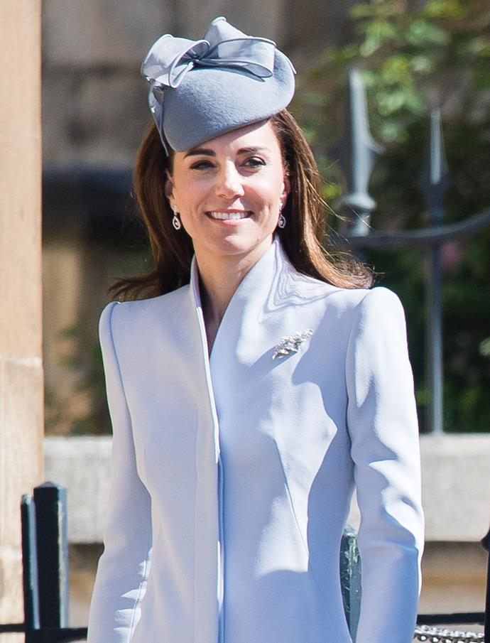 The Duchess of Cambridge wearing a funnel-style neckline to the Easter Services.