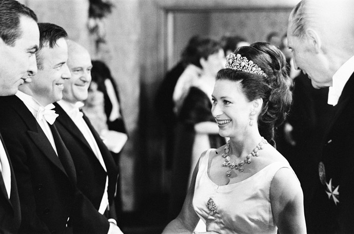 Princess Margaret attending a performance of 'The Taming of the Shrew,' wearing the Persian Turquoise Tiara.