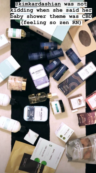 "And to ensure her attendees stayed in the zen zone long after the party had closed, she sent them home with an enormous bag of CBD-infused goodies. The guests also received Yeezy flats to wear at what Kim called ""the Yeezy"" spa in her Instagram story.<br><br>   *Image and video via [@kimkardashianwest](https://www.instagram.com/kimkardashiansnap/?utm_source=ig_embed