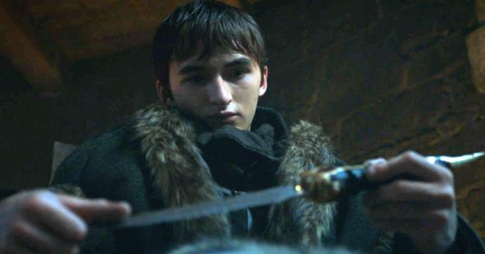 ***Bran giving Arya the Catspaw dagger in season seven***<br><br> After reuniting in the godswood in season seven, Bran gives his sister Arya a gift—the Catspaw dagger.  Of course, as seen above, Arya eventually uses the dagger Bran gave her to kill the Night King, but considering the origin of the dagger, this is particularly poetic. <br><br> The dagger was originally introduced in season one when an assassin used it to attempt to kill Bran, and it then changed hands several times through Catelyn, Tyrion and Littlefinger before passing to Arya. <br><br> This means Arya used the dagger that was used to try and murder her brother to defend him and save his life. How about that for a call-back?