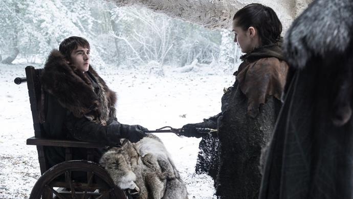 Arya receiving the Catspaw dagger from Bran.