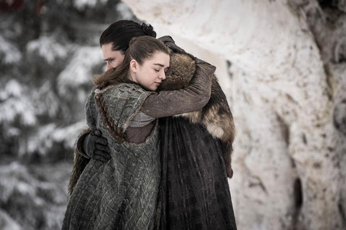 "***Jon's question to Arya***<br><br> When Jon and Arya reunited in season eight, Jon asked her, after she came up behind him silently, ""How'd you sneak up on me like that?"" The line is said in almost exactly the same place where Arya killed the Night King, who she also snuck up silently behind. <br><br> The next question Arya asks is, ""How'd you survive a knife through the heart?"" Jon replies: ""I didn't."" Neither did the Night King."
