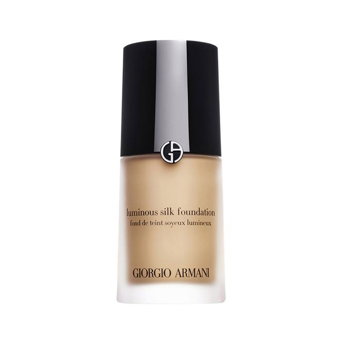 "Giorgio Armani Luminous Silk Foundation, $99 at [Adorebeauty](https://www.adorebeauty.com.au/giorgio-armani-luminous-silk-foundation.html|target=""_blank""|rel=""nofollow"")"