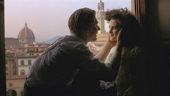 ***A Room With A View***<br><br>  Set in the stunning Renaissance city of Florence, Italy, the film tells the tale of Lucy Honeychurch (Helena Bonham-Carter), a young English woman touring Italy with her cousin. At a hotel in *Firenze*, she meets the carefree George Emerson and a story of love begins.
