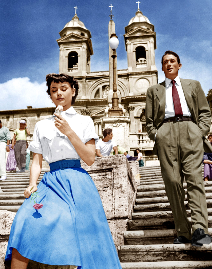 ***Roman Holiday***<br><br>  No chic film list would be complete without at least one appearance by the inimitable Audrey Hepburn. Set in the titular  Rome in Italy, the film follows Audrey as a crown princess out to explore the city on her own after becoming frustrated with restrictive royal life. When a sedative she took from her doctor kicks in, she falls asleep on a park bench, only to be found by American reporter, Joe Bradley (Gregory Peck). Cue: Romance and a romp around Rome.
