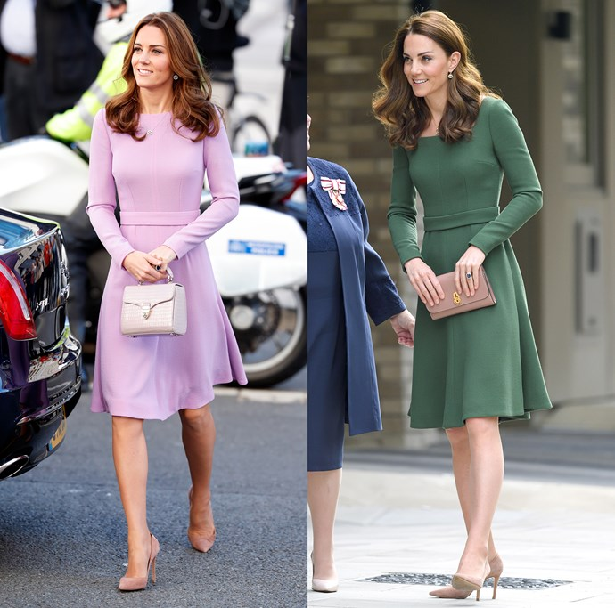 After wearing the lilac version twice, Kate had this Emilia Wickstead fit-and-flare made in a deep green. However, for this variation, she chose to make the neckline square over the bateau neck in the original.