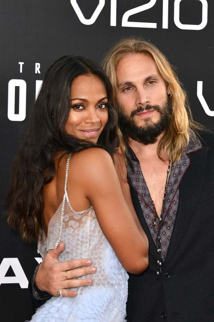"***Zoe and Marco Saldana-Perego***<br><Br> After marrying in an intimate ceremony 2013, both Saldana and Perego took on the joint married name of Saldana-Perego. ""I tried to talk him out of it. I told him, 'If you use my name, you're going to be emasculated by your community of artists, by your Latin community of men, by the world',"" Saldana told *InStyle* in 2015. ""But Marco looks up at me and says [she puts on a cute Italian accent], 'Ah, Zoe, I don't give a sheet.'"""