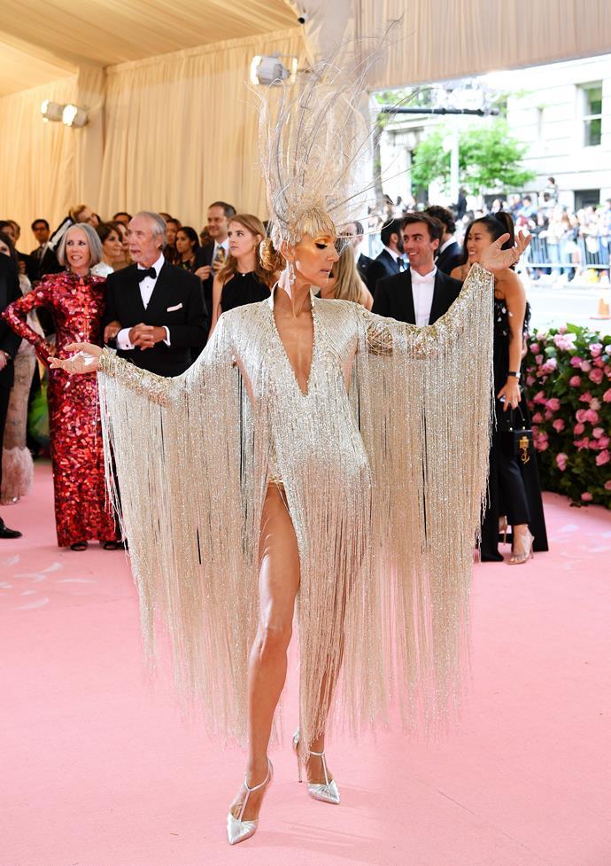 Celine Dion in Oscar de la Renta.