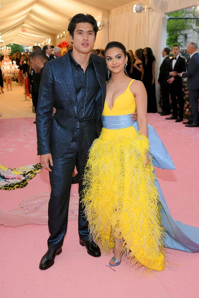 Charles Melton and Camila Mendes in Prabal Gurung.