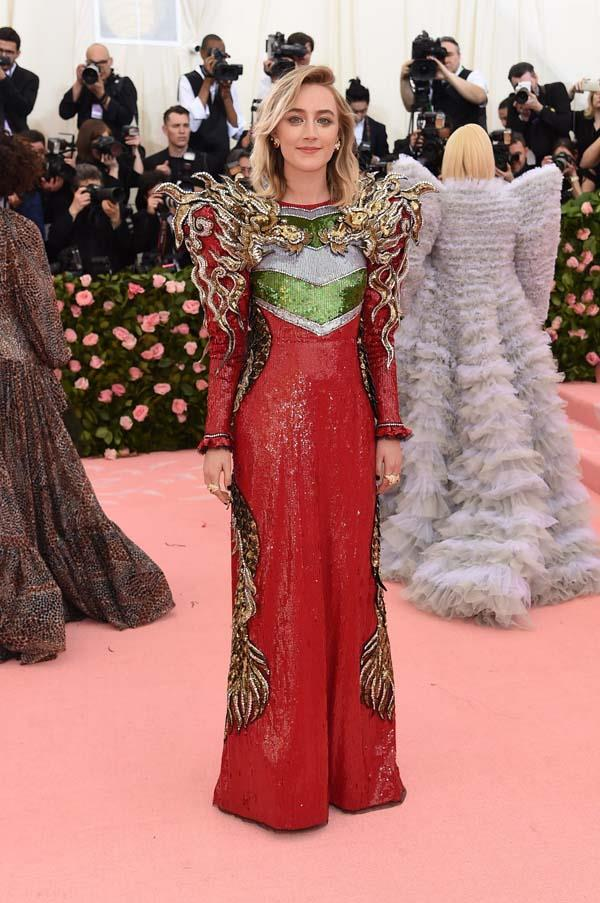 "**Saoirse Ronan in Gucci** <br><br> ""From the golden dragons to that killer smoky eye, this look nailed the brief without going overboard. J'Adore."" - Mahalia Chang, digital managing editor <br><br> ""The proportions on this dress are great for Saoirse and the attention to detail is impeccable.""  Grace O'Neill, fashion features director"