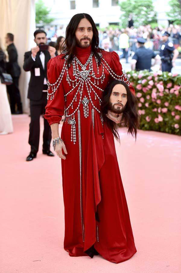 "**Jared Leto in Gucci** <br><br> ""Alessandro Michele was always going to excel at this theme and Jared Leto's bejewelled gown is pure camp perfection. Accessorised, of course, with a replica of his own head. Nailed it."" - Grace O'Neill, fashion features director"