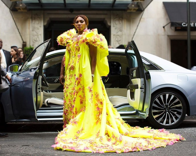 """***Serena Williams***<br><br>  This year's co-chair shared a shot of her in her bright yellow Versace gown (with matching Nike shoes underneath!) before the Gala with the witty caption:<br><br>  """"I've MET my match. @lincoln""""<br><br>  *Image via [@serenawilliams](https://www.instagram.com/serenawilliams/