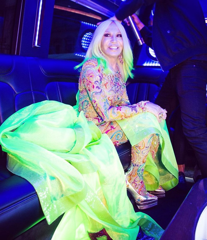 """***Donatella Versace***<br><br>  The creative director of Versace expressed her enthusiasm for this year's Met Gala theme with an Instagram post en route in the limo, captioning it:<br><br>  """"One last hair check just before hitting the pink carpet!! 💗 So excited about this year's #MetGala! #metcamp"""".<br><br>  *Image via [@donatella_versace](https://www.instagram.com/donatella_versace/