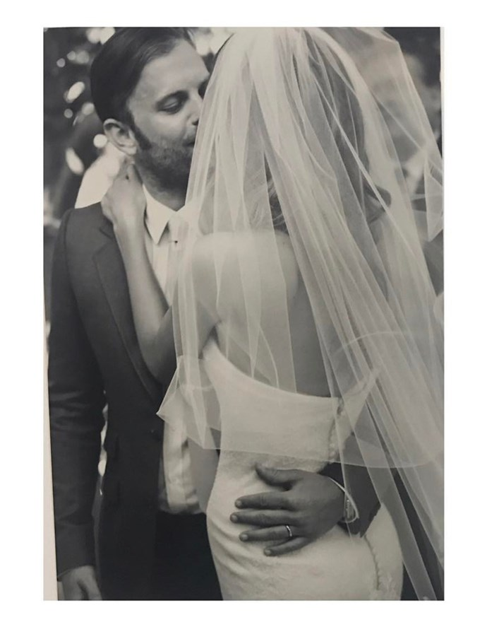This sweet snap reveals the detailed back of Aldridge's gorgeous Vera Wang gown.