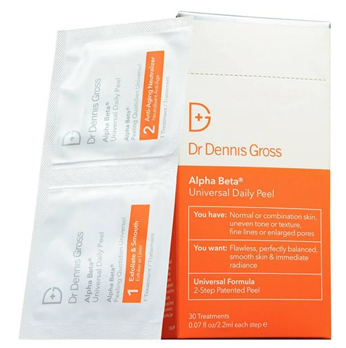"""Dr Dennis Gross Alpha Beta Universal Daily Peel Pads, $135 30-day pack at [MECCA](https://www.mecca.com.au/dr-dennis-gross/alpha-beta-universal-daily-peel/V-017011.html target=""""_blank"""" rel=""""nofollow"""")"""