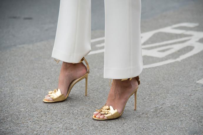 "***Do you have to wear heels? What are some alternatives to heels?***<br><br>  ""For shoes, think elegance. It's best to stick with stilettos, pumps or strappy sandals.  For a lower option, opt for a kitten heel or a glamorous wedge. Stay away from flat sandals, or statement sneakers, as they don't quite fit the fancy brief and you will have plenty of opportunities to wear them. Save them for the morning after or recovery event!"" said Nina.<br><br>   ""Make sure you consider the location when choosing footwear. You may rethink sky-high stilettos and opt for a chic block heel when attending a sophisticated farm wedding where you will most likely be walking across or grass and uneven ground."""