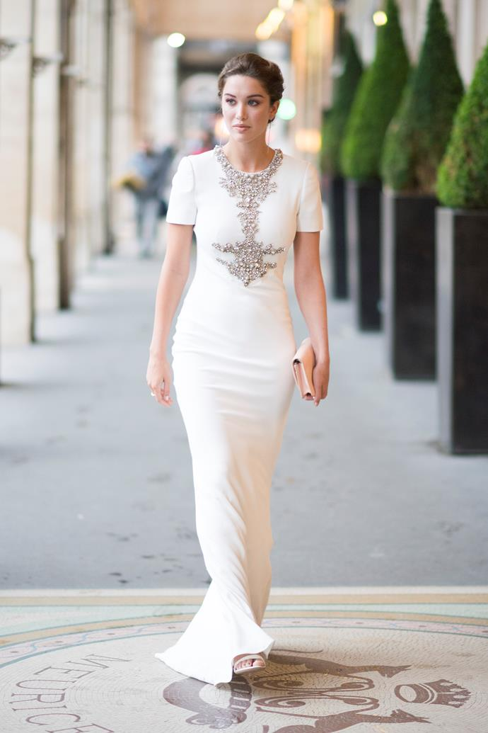 "***What should you absolutely avoid wearing to a black tie wedding?***<br><br>  ""The only rule is don't wear white, ivory or cream. You should never go there, long or short. Basically anything that is competing with the bride, you should avoid,"" said Nina."