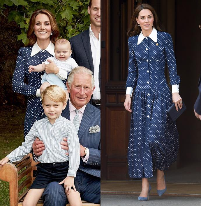 ***Alessandra Rich polka-dot dress***<br><br> After wearing this spotted dress in Prince Charles' birthday portraits late last year, Kate reprised the look for an outing in London in May. She paired the look with Emmy London heels and a Smythson bag.