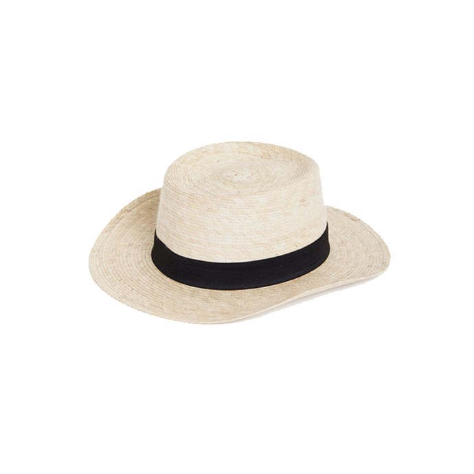 """***An everyday hat***<br><br> Whether for beach-sitting or city-exploring, we'll be observing school rules: no hat, no play. Opt for something neutral and wearable that pairs with everything from bikinis to party dresses for soirees on the beach.<br><br> Hat by Communite, $125 at [My Chameleon](https://www.mychameleon.com.au/fashion/accessories/hats/boater-palm-straw-hat