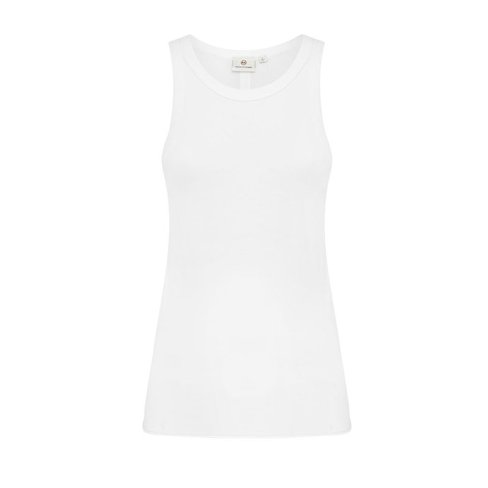 """***A simple tank***<br><br> This season, a white ribbed tank is shaping up to be the most versatile piece. Throw on over swimwear, pair with jeans, layer under dresses, it's chic and unassuming enough for any occasion.<br><br> Tank by AG Adriano Goldschmied, $109 at [Basics Department](https://www.basicsdepartment.com/products/ag-jeans-adriano-goldschmied-lexi-cotton-jersey-tank-true-white?variant=72693678083
