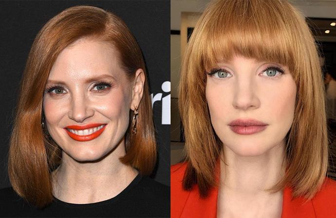 "**Jessica Chastain** <br><br> The redhead actress was sporting a chic mid-length bob for most of 2019, but decided to drastically shake things up but cutting a '70s shag, which just so happens to be the [haircut of the season](https://www.harpersbazaar.com.au/beauty/shag-haircut-2019-18624|target=""_blank""). ""Scarface vibe,"" her hairdresser, Renato Campora, captioned the reveal shot."