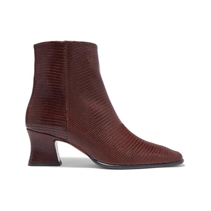 """Boots by By Far, $384 at [NET-A-PORTER](https://www.net-a-porter.com/au/en/product/1104920/BY_FAR/naomi-lizard-effect-leather-ankle-boots-