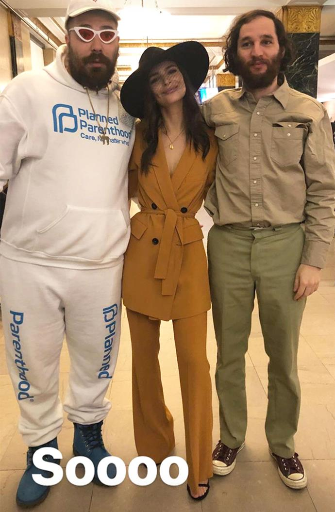 **Emily Ratajkowski:** Who could forget when the model married her boyfriend of only a few months, Sebastian Bear-McClard, in a courthouse ceremony while wearing a mustard-toned Zara suit?