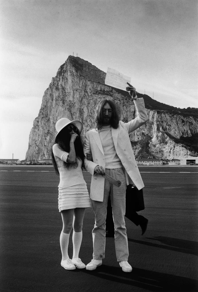**Yoko Ono:** When Yoko Ono tied the knot with John Lennon in a bureaucratic office in Gibraltar, Spain, she wore a casual mini dress, white sun hat and knee-high socks.