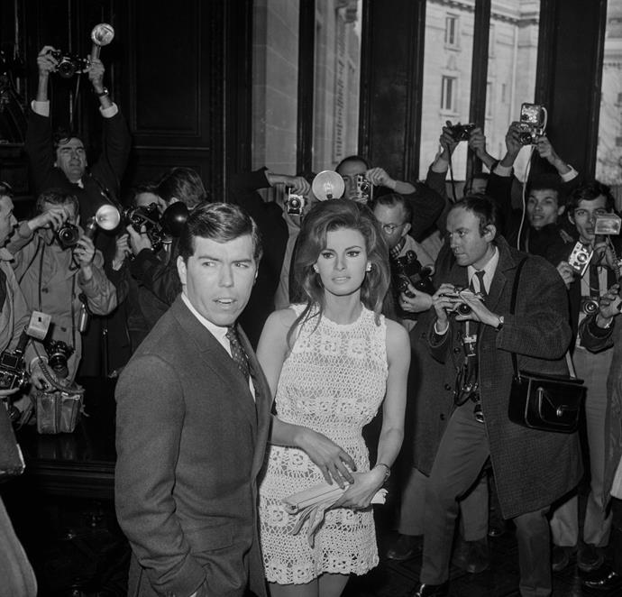 **Raquel Welch:** For her 1967 wedding to second husband Richard Curtis, Welch wore a white crocheted mini dress and accessorised with a voluminous beehive hairdo.