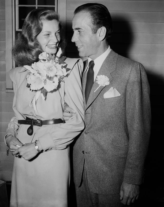 **Lauren Bacall:** When marrying Humphrey Bogart at a farmhouse in Ohio in 1945, Bacall wore a beige skirt-suit with leather belt.