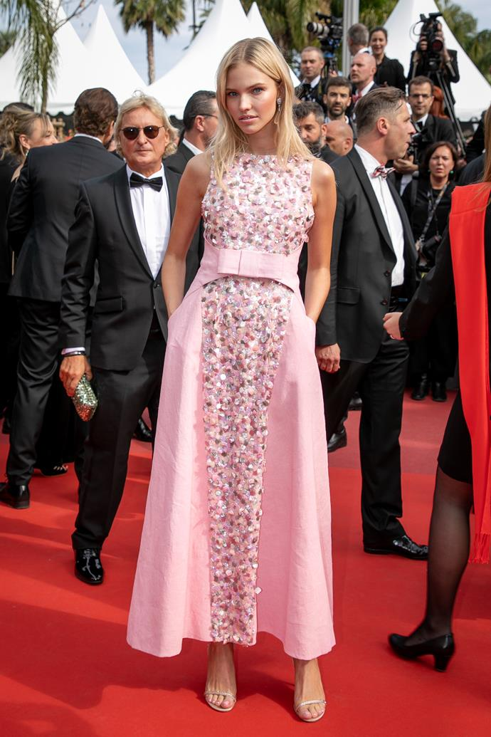 "***Sasha Luss in Chanel***<br><Br> ""I love the sleek silhouette of this dress paired with the playful bubblegum pink and sprinkle of sequins."" Samantha Wong, market editor."