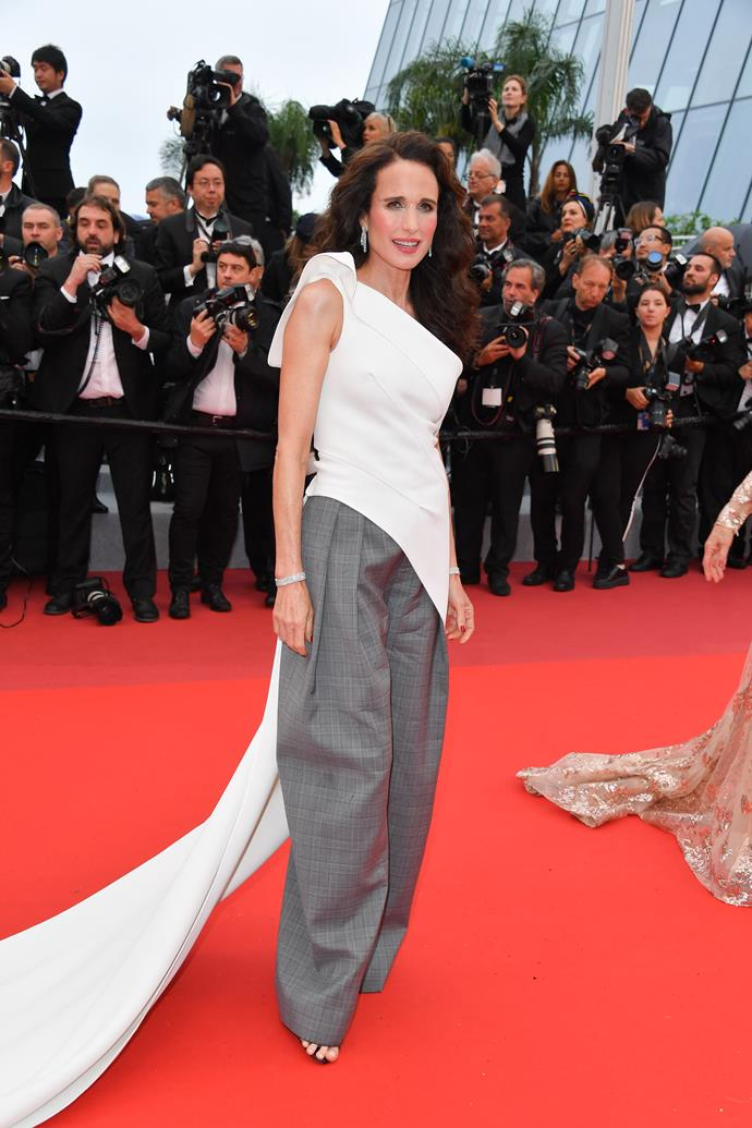 "***Andie MacDowell in Maticevski***<br><br> ""FYI, Andie MacDowell in Prince of Wales check is the only person who can give lessons in understated red carpet cool."" Mahalia Chang, digital editor."