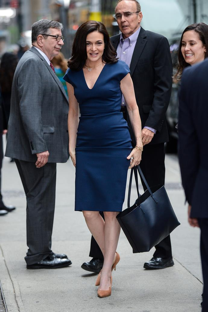 ***Sheryl Sandberg***<br><br>  Facebook COO Sheryl Sandberg has also 'leaned in' to the power of the work uniform, favouring tailored dresses with minimal jewellery and classic looks that have stood the test of time.