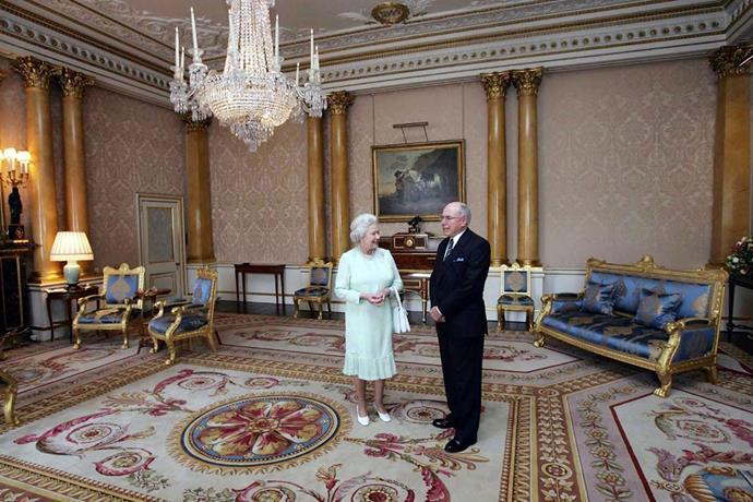 Inside Buckingham Palace.