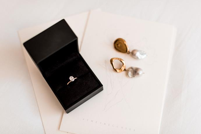 **On the accessories:** I wore my godsister's Alighieri pearl earrings, which were my 'something borrowed', and my grandmother gifted me her wedding band so that I could wear something of my late grandfather's on my wedding day.
