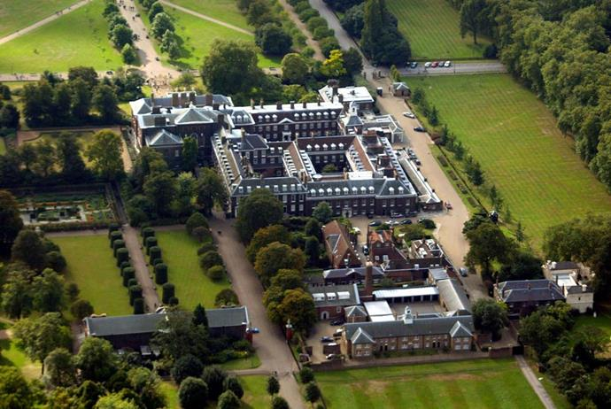 An aerial view of Kensington Palace, showing its various smaller properties, including Ivy Cottage, Wren House, and Nottingham Cottage.