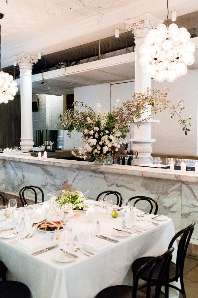 **On the reception location:** Following our engagement in New York, we knew we wanted to bring a bit of that NYC magic to Sydney somehow, so after stumbling across Establishment Bar with its beautiful large white pillars and statement marble bar, we booked it on the spot