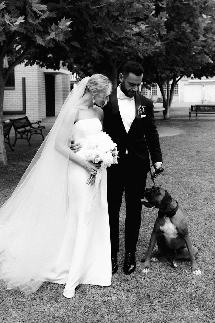 **On the most important element of the wedding:** Just having everyone we loved in the same room, celebrating our love. We kept this in mind throughout the planning process which made everything come together so naturally. Having our dog Harvey join us after the ceremony for a quick hello and some shots was super special to us too, and a fun surprise for our guests.