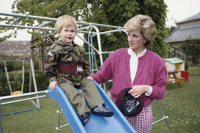 Diana, Princess of Wales, and Prince Harry at Highgrove House.