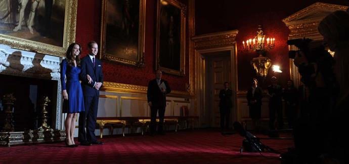 Prince William and Catherine Middleton announcing their engagement at St James's Palace.