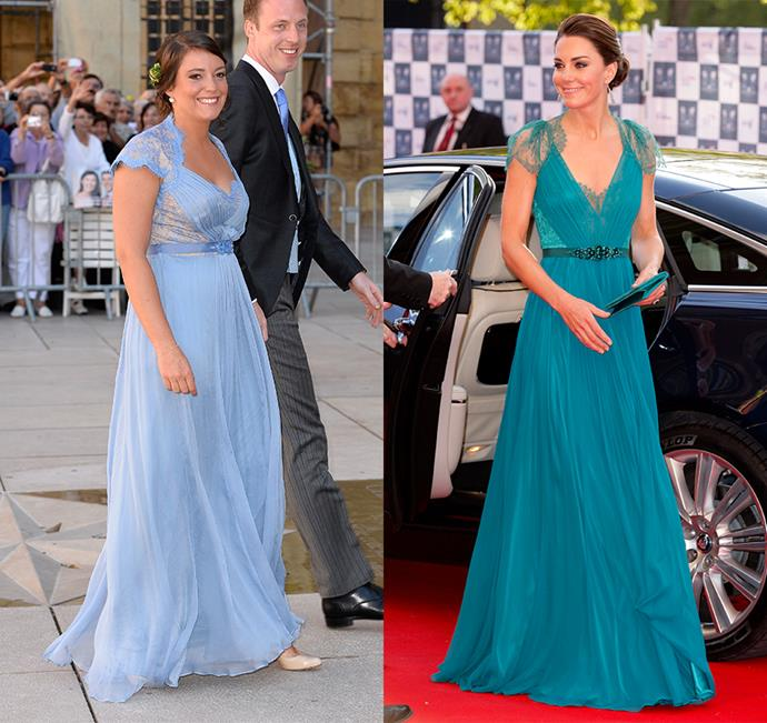 Princess Alexandra of Luxembourg and Catherine, Duchess of Cambridge, have both worn this lace gown by Jenny Packham. Alexandra in periwinkle and Kate in teal.
