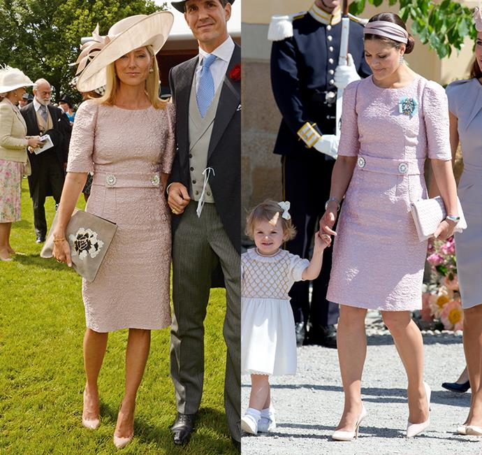 Crown Princess Marie-Chantal of Greece and Crown Princess Victoria of Sweden both wore this lace Dolce & Gabbana dress.