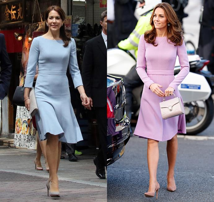 Although there are some subtle differences, Crown Princess Mary of Denmark and Catherine, Duchess of Cambridge, have each worn a version of this Emilia Wickstead dress.