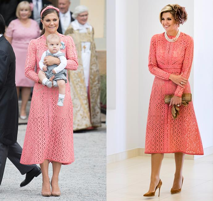 Princess Victoria of Sweden and Queen Maxima of The Netherlands share a love for this coral Elie Saab dress.