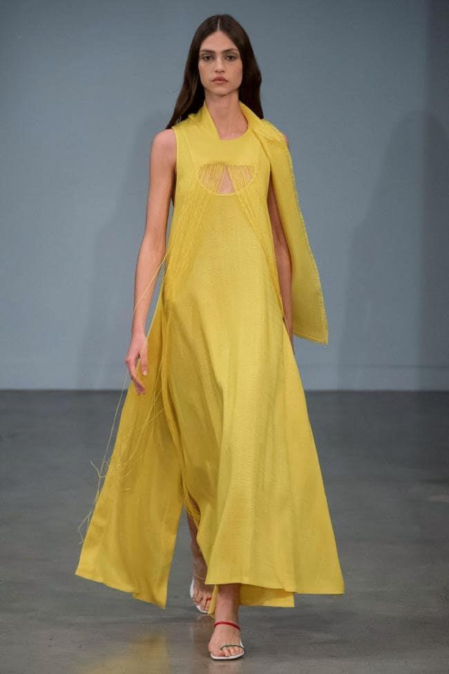 **Enhanced Neutrals:** Turmeric yellow at *Christopher Esber Resort 2020*