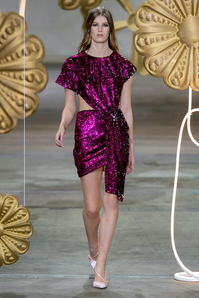 **Digital Brights:** Purple wave at *Alice Mccall Resort 2020* <br><br> After the proliferation of lilac in 2019, a deeper, brighter purple made an unexpected comeback to the fashion foray.