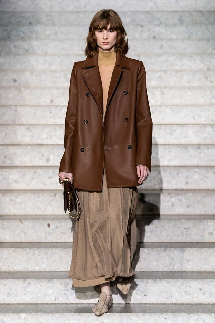 **Enhanced Neutrals:** Earth brown at *Max Mara Resort 2020*