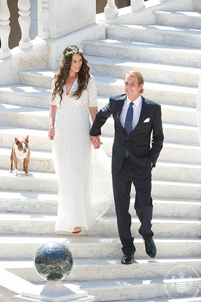 **Tatiana Santo Domingo and Andrea Casiraghi**<br><br> For her civil wedding to Monaco royal Andrea Casiraghi in 2013, fashion influencer Tatiana Santo Domingo opted for a very breezy Missoni dress which featured three-quarter length sleeves, a v-neckline and lace detailing. <br><br> She accessorised her dress with a floral crown and her Boston Terrier, Daphne. <br><br> Afterwards the newlyweds hosted an al fresco lunch for friends next to the pool at the Prince's Palace.