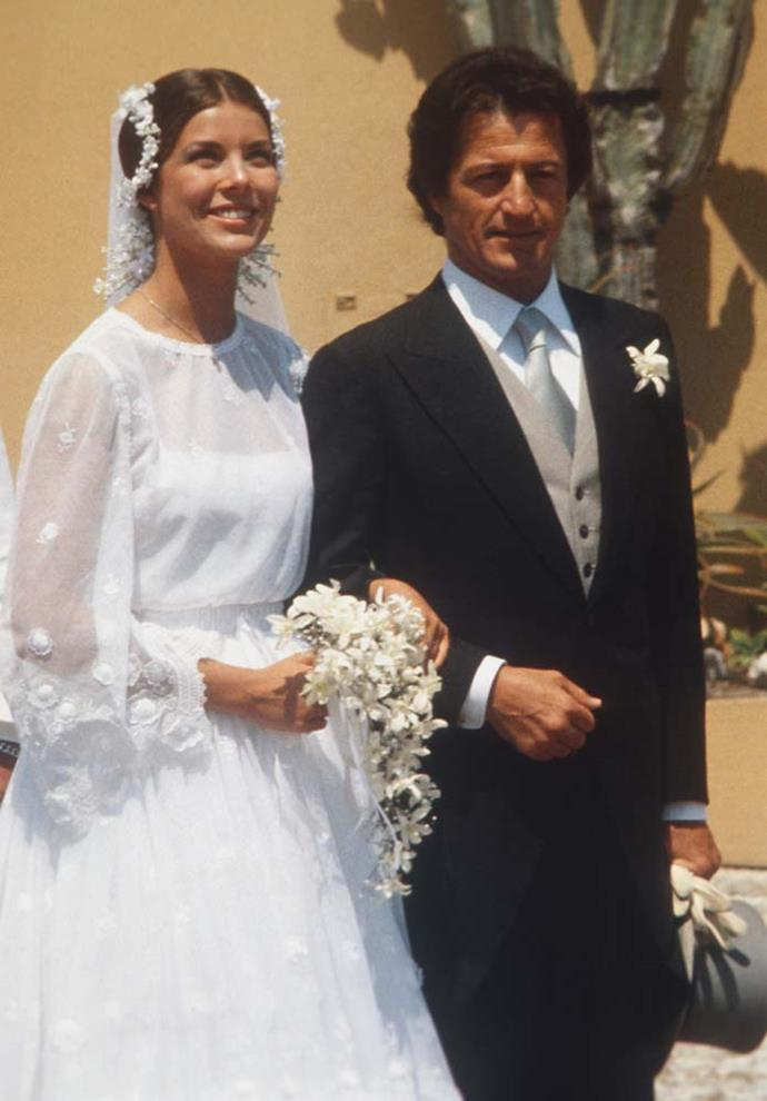 **Princess Caroline of Monaco and Philippe Junot**<br><br> For her wedding to Parisian banker Phillippe Junot, Princess Caroline hosted a small wedding of 65 in Monaco. The bride chose to wear a wreath of flowers over a tiara, and celebrated with dinner after.
