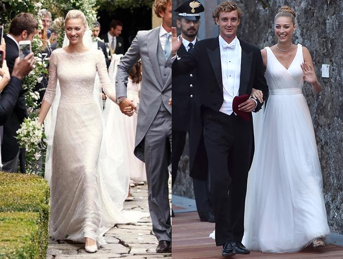 ***Beatrice Borromeo***<br><br> For her lavish royal wedding in Monaco (which she followed with wedding parties at her family's private islands in Italy and in Switzerland), Beatrice Borromeo changed from a lace Alberta Ferretti gown, to slinky chiffon Armani, to a blush Valentino dress.